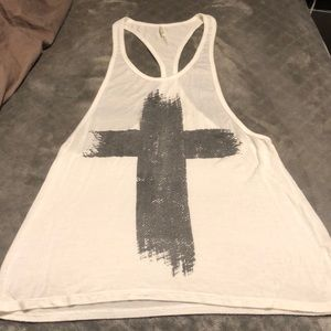 White muscle tank with black cross